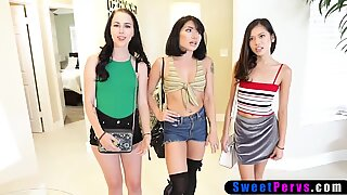 Three Asian princesses love kinky sex in different positions.