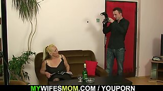 Old blonde motherinlaw rides his cheating cock